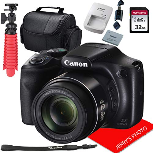 Canon PowerShot SX540 HS Digital Camera with 50x Optical Image Stabilized Zoom with 3-Inch LCD HD 1080p Video (Black) + 32GB Bundle
