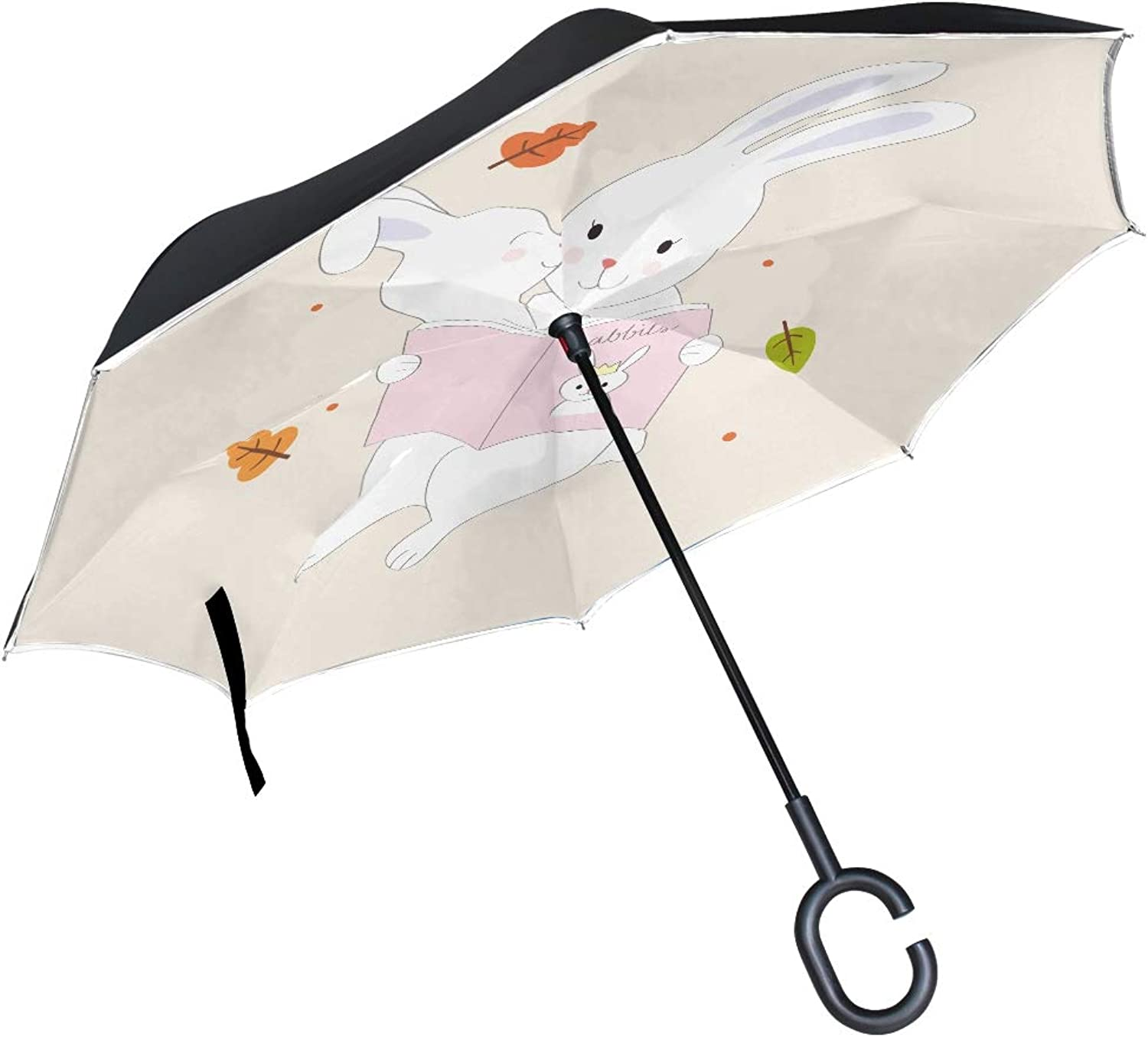 Double Layer Ingreened Cartoon Cute Mom Baby Rabbits Read Umbrellas Reverse Folding Umbrella Windproof Uv Predection Big Straight Umbrella for Car Rain Outdoor with CShaped Handle