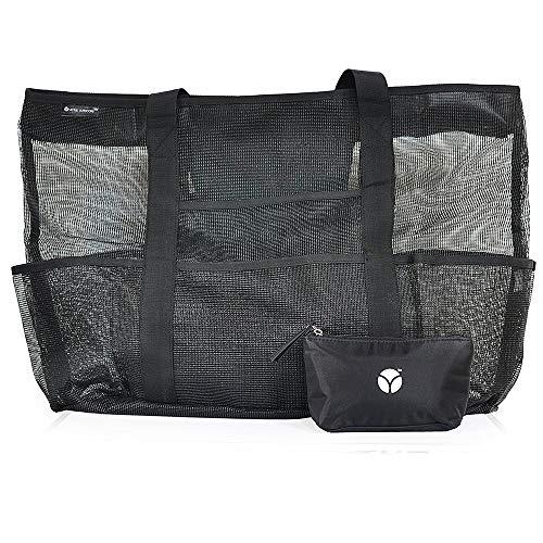 Gobesty Extra Große Reisetasche Strandtasche, 70x45x18cm Netztasche für Sandspielzeug Faltbare Handtaschen Sand Spielzeug Wasserspielzeug Aufbewahrungstasche, Schwarz