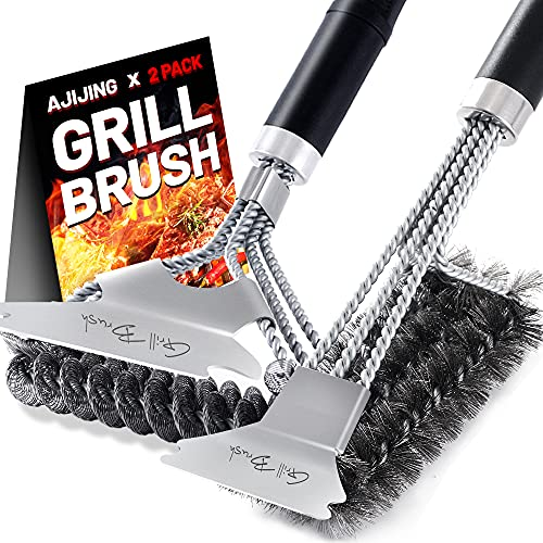 """AJIJING Grill Brush and Scraper,2 Pack BBQ Grill Cleaning Brush 18"""" Stainless Steel Wire Bristle BBQ Grill Cleaner Brush Scraper Accessories for Gas Grill Weber Charcoal Porcelain Ceramic Iron Grill"""