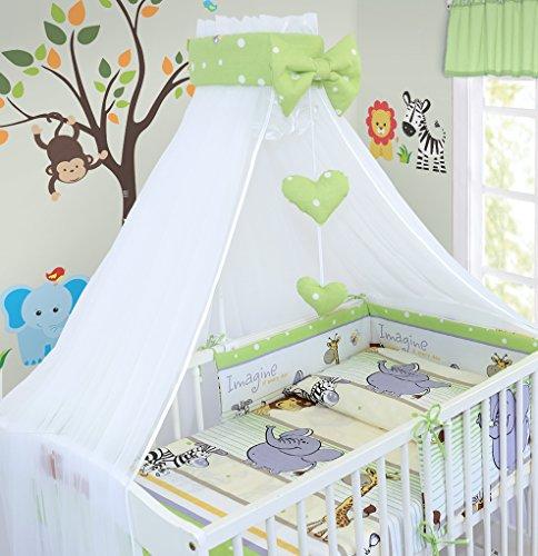 Juego de cama de bebé de lujo de 14 piezas, 120 x 60 cm, funda de edredón y almohada para cuna, color verde