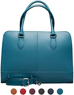 15 6 Inch Laptop Bag with Trolley Strap for Women Split Leather Briefcase  Handbag  Messenger Bag Made Italy Turquoise