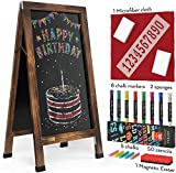 Arteza 40x20 Inch A-Frame Chalkboard Easel Set, Outdoor Chalkboard Sign with Chalk Sticks, Chalk Markers, Erasers, and Stencils, Standing Sign, Office Supplies for Businesses, Announcements & Events
