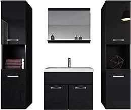 Badezimmer Hochschrank Hochglanz schwarz weiß Badmöbel Badschrank Standschrank