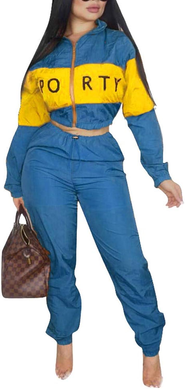 AEL Women's 2 Pieces Outfit Jumpsuits color Block Crop Top Long Pant Tracksuits Suit Set