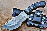 Bobcat Knives Tracker Knife - Survival Knife - Camping Knife - Damascus Knife -Hunting Knife - Custom Handmade Fixed Blade Knife with 2 Horizontal Carry Sheaths Bigcat Roar