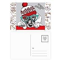 犬の服の美しい水彩画のイラスト 公式ポストカードセットサンクスカード郵送側20個