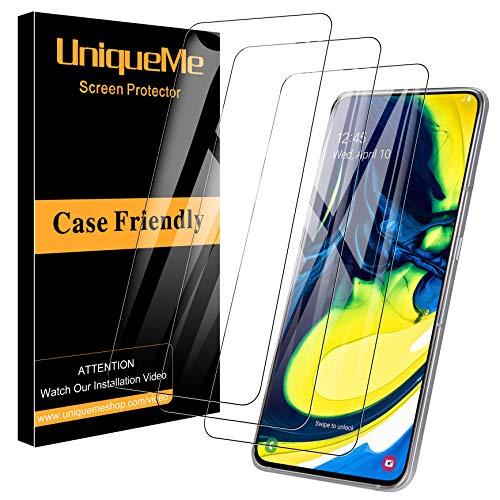 UniqueMe Schutzfolie für Samsung Galaxy A80 / A90 Panzerglas, [3 Stück] Samsung Galaxy A80 Bildschirmschutzfolie [9H Festigkeit] [Anti-Öl] Hartglas Panzerglasfolie