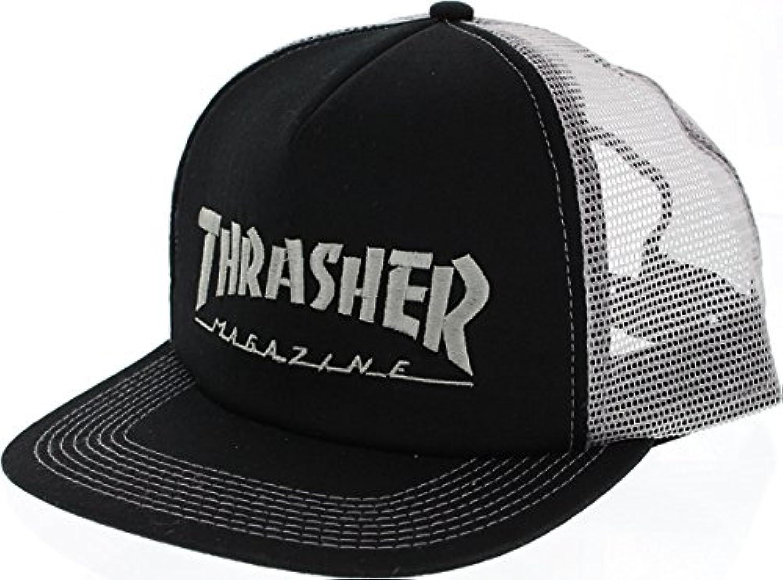 Thrasher Magazineロゴ刺繍入り ブラック/シルバーメッシュ トラッカーハット - 調節可能