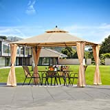 Erommy 10x12 FT Canopy Gazebo Outdoor Gazebo Steel Frame with Vented Soft Top for Backyard,Patio,Party,Event (Beige)