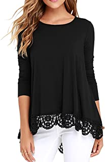 Women's Tops Long Sleeve and Short Sleeve Lace Trim O-Neck A-Line Tunic Blouse