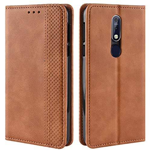 HualuBro Handyhülle für Nokia 7.1 Hülle, Retro Leder Brieftasche Tasche Schutzhülle Handytasche LederHülle Flip Hülle Cover für Nokia 7.1 - Braun