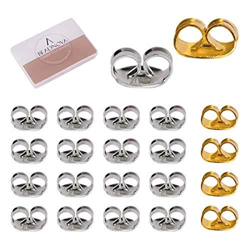 BEADNOVA Silver Earring Backs for Studs Locking Earring Backings Stainless Steel Earring Backs Replacement Gold Earring Backs Pierced Earring Backs for Posts (200 pcs Silver, 10 pcs Gold)