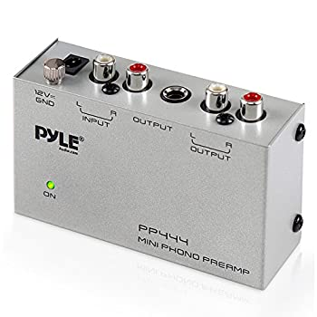 Pyle Phono Turntable Preamp - Mini Electronic Audio Stereo Phonograph Preamplifier with RCA Input RCA Output & Low Noise Operation Powered by 12 Volt DC Adapter  PP444