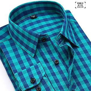 DishyKooker - Camisas de algodón para hombre, manga larga, cuello de solapa