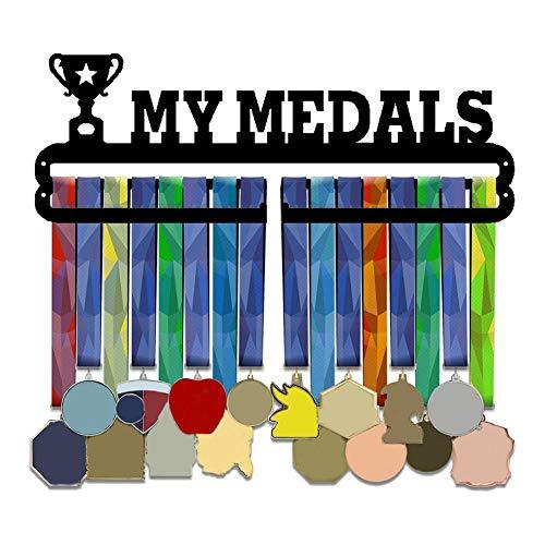 yummyfood Medallero Colgador de Carreras Expositor de medallas Montaje En Pared Soporte para Medallas De Metal Soporte para Premios para Almacenamiento De Medallas Fácil De Instalar Race