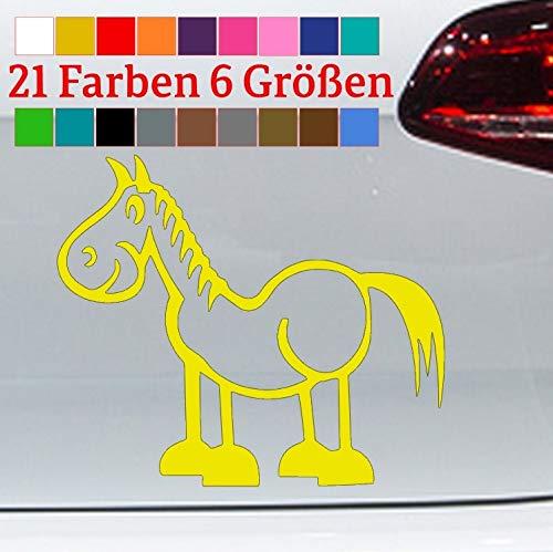 Generisch Pferd Aufkleber Comic Horse Pony Stute Hengst Sticker Cowboy Car Fun Kleber JDM in 6 Größen und 21 Farben