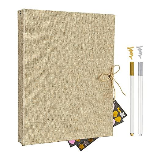Album Scrapbook,Album de Fotos, Libro de visitas Album de Fotos Boda,con 60 páginas Negras (2pcs*Color Metálico Pluma 2pcs*Metal Pegatina(Caqui))