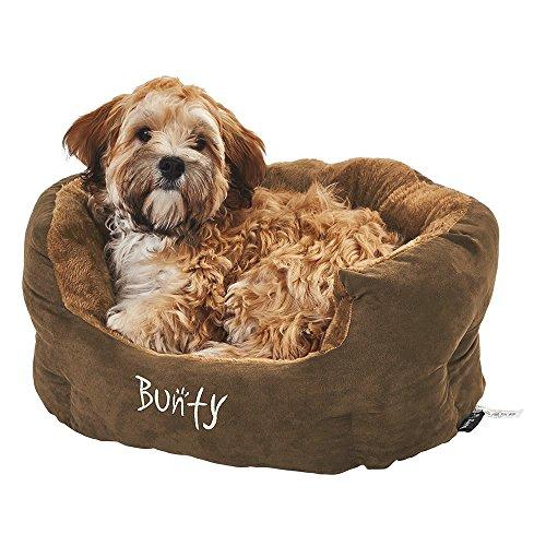 Bunty - Cama para Perro Polar, Suave y acogedora Canasta de Forro Polar cálida, Lavable a máquina, de Lado Alto, Gato, Animal pequeño, marrón, pequeño, Fabricado en el Reino Unido