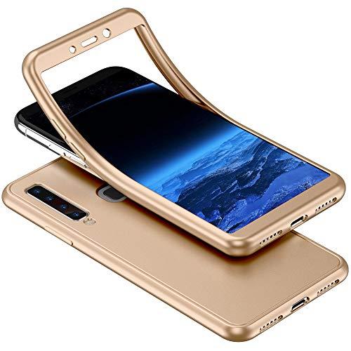 Herbests Kompatibel mit Samsung Galaxy A9 2018 Handyhülle 360 Grad Case Full Body Silikon Schutzhülle Double Side Cover Soft Case Hülle Beidseitiger Cover Vorne und Hinten Komplett Hülle,Gold