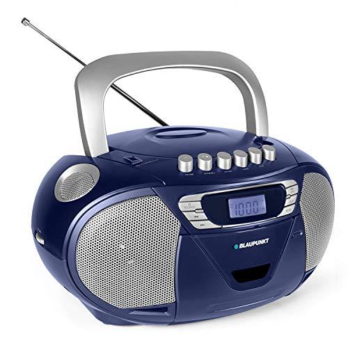 Blaupunkt B 110 CD Spieler Kinder | Hörbuch Funktion | CD Player mit USB | Kassettenrekorder Kinder | tragbar | CD-Radio | Aux In | Kopfhöreranschluss | PLL UKW Tuner | CD Player mit Kassette | Blau