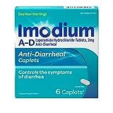 Imodium AD Diarrhea Relief Caplets -Loperamide Hydrochloride Anti-Diarrheal Medicine (294314), Blue, 6 Count