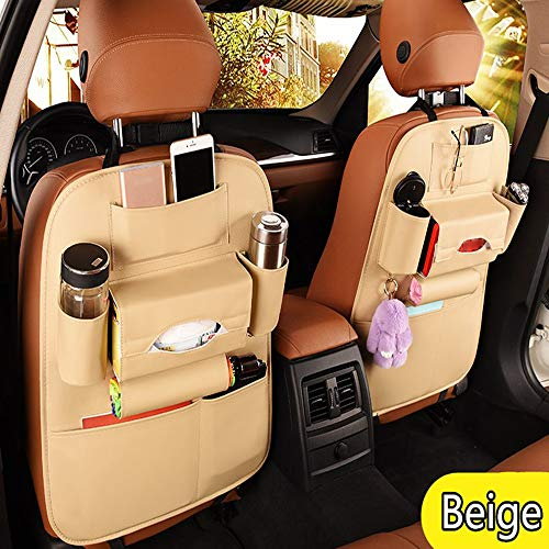 2 Pack PU Leather Premium Car SeatBack Organizer Travel Accessories, Car Seat Back Organizer Seat Protector/Kick mats Back seat Protector and Cup Holder Holder,Universal Use Seat Covers (beige-2)
