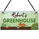 RED OCEAN Personalised Greenhouse Plaque Garden Shed SummerHouse Sign Dad Mum Friendship Gift