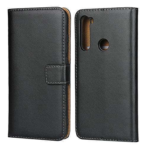 Happy-L Caso Xiaomi Redmi Nota 8, Custodia in Vera Pelle di Struttura a Colori Solido con Chiusura Magnetica/Slot per schede/cavalletti (Color : Black)
