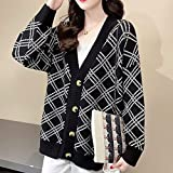 ZXCHB Cardigan Señoras suéter de otoño, chaqueta de punto flojo for mujer. Primavera femenina abrigo de otoño suéter (Color : Black, Size : L code)
