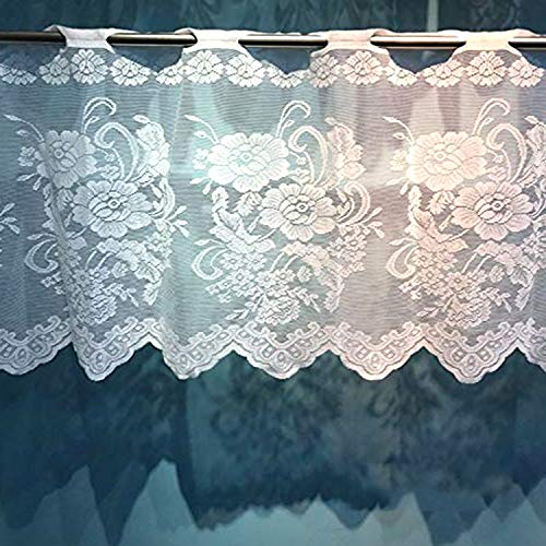 Floral Lace Sheer Rod Pocket Curtain Valance White 59x18 inch Short for Small Home Kitchen Window(59 x 18 inch, White Rose)
