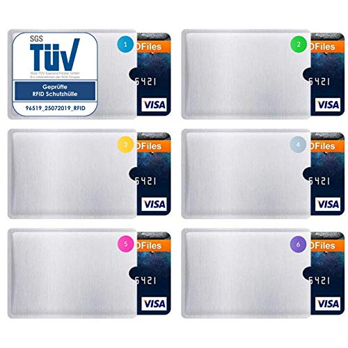 RFID Schutzhülle - TÜV geprüft (6 Stück) NFC kreditkartenhülle - Hülle für Kreditkarte, EC-Karte, Bankkarte - EC Karten Hüllen - Schutz für Kreditkarten - RFID Blocker Schutzhüllen