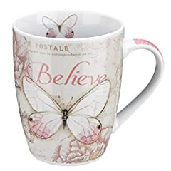 "MARK 9:23 BIBLE VERSE MUG: Christian Art Gift's ""Believe"" Butterfly Mug features the artwork of Jane Shasky with her fresh botanicals embellished with elegant ""carte postale as a background for a signature Pink butterfly. The back of this bible verse..."
