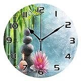 COZYhome Reloj de pared moderno japonés Zen Masaje piedra Bambú redondo reloj de...