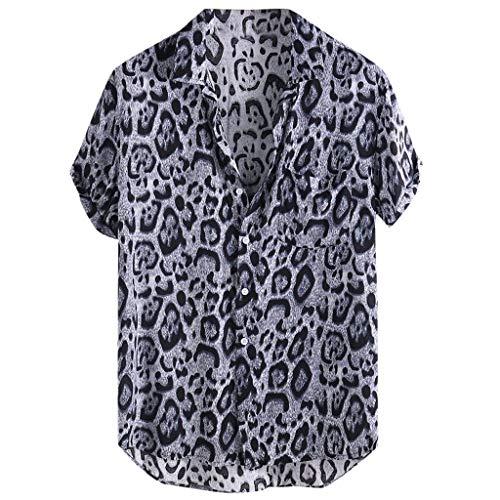 Camisas Estampadas Leopardo Hombre, Dragon868 Vintage Camisas de Manga Corta Hawaianas, Playa de Verano Bolsillo Delantero Blusa Suelta Tops, Botón Informal Abajo Camisa Hawaiana, M-XXXL