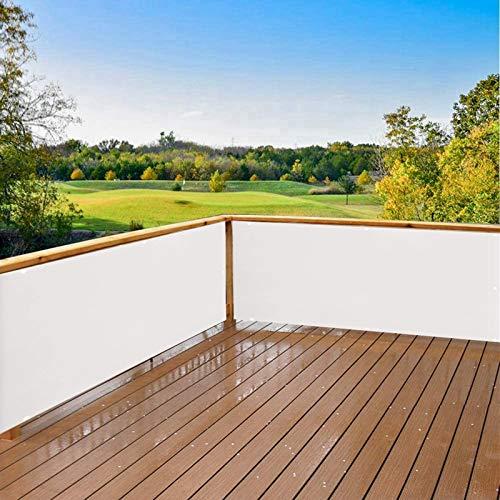 AZLAO Balkonumspannung Meterware 80x750cm 100% Privatsphäre Balkonbespannung Atmungsaktiv für Gartenanlagen, Camping und Freizeit Weiß