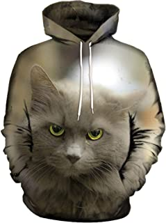 Zackate Mens 3D Printed Skull Pullover Long Sleeve Hooded Sweatshirt Lovely Cats Dog Pattern Tops Blouse