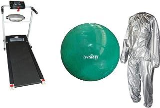جهاز مشي مع اداة مساج مدمجة وكرة يوجا من وورلد فيتنيس بلون اخضر مقاس 95 سم مع بدلة ساونا - XL