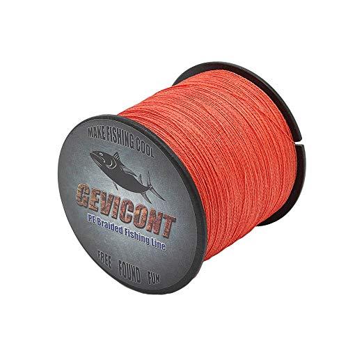 Gevicont 8 geflochtene Angelschnur, Multifilament, 100 m, PE Schnur, super starke Webweaves, 10 lb-300 lb Cord, rot, 109Yds(100m)-180lb(81.0kg)-0.70mm