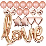 Valentines Day Decorations, 40 Inch Rose Gold Love Balloons Kit – Pack of 20 | Rose Gold Valentines-Day Party Supplies, Heart Shaped and Latex Balloon kit | Wedding, Bridal Shower Decorations