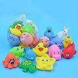 YYhkeby Zpong 13 PC instaló Mixtos Animales Natación Juguetes Suave Colorido Flotante de Goma del Pato del apretón de Sonido chirriante de baño de Juguetes for el bebé Juguetes for el baño Jialele
