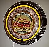 Neon reloj Neon Clock–Coca Cola Atlanta Sign–Reloj de pared iluminado con amarillo neon Anillo.