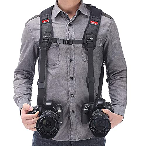 Camera Shoulder Double Strap Harness Quick Release Adjustable Dual Camera Tether Strap with Safety Tether for DSLR SLR Camera