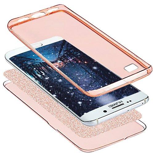 Kompatibel mit Huawei P8 Lite 2017 Hülle,Full-Body 360 Grad Bling Glänzend Glitzer Klar Durchsichtige TPU Silikon Hülle Handyhülle Tasche Case Front Cover Schutzhülle für Huawei P8 Lite 2017,Rose Gold - 3