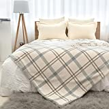 Cozy Bliss Sherpa Fleece Blanket, Double Sided Popcorn Plaid Throw Blanket Fluffy Soft Fuzzy Thick Blanket for Couch and Bed (Blue/Brown, 50' x 60')