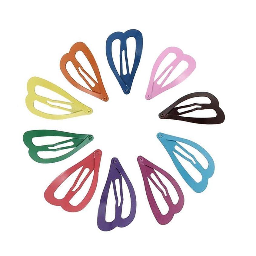 財布れる計画1st market プレミアム品質の女性カラフルな金属ハート形の曲がったスナップヘアクリップヘアピン10個
