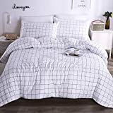 Andency White Grid Comforter Sets Twin (66x90 Inch), 2 Pieces(1 Grid Comforter and 1 Pillowcase), White and Black Soft Microfiber Down Alternative Comforter