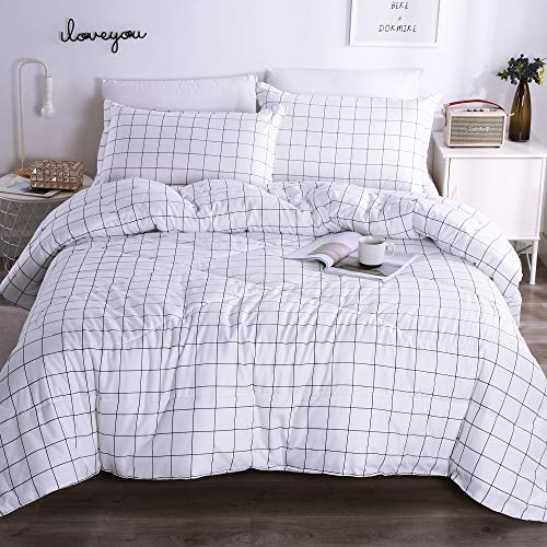 Andency White Grid Comforter Sets Queen (90x90 Inch), 3 Pieces(1 Grid Comforter and 2 Pillowcases), White and Black Soft Microfiber Down Alternative Comforter