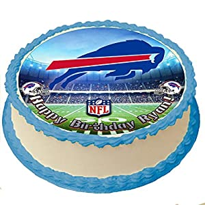 Buffalo Bills NFL Personalized Cake Topper Icing Sugar Paper 8 Inches Round Sheet Edible Frosting Photo Birthday Cake Topper (Best Quality Printing)