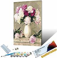 数字油絵 数字キッ 手塗り_美しい花_DIY絵 デジタル油絵_ホーム オフィス装飾_30x45cm_ フレームレス